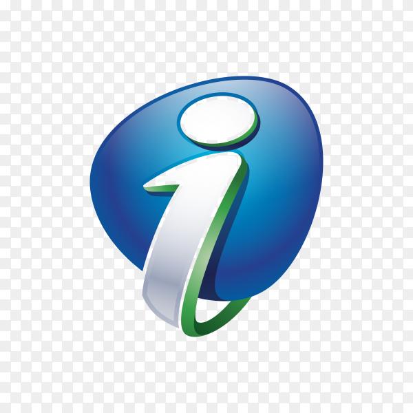I Logo – Abstract Letter I 3D Logo on transparent background PNG