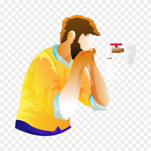Illustration of Man muslim perform ablution (wudhu) and Rinse his mouth before prayer on transparent background PNG