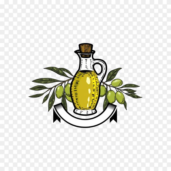 Illustration of Olive oil logo on transparent background PNG