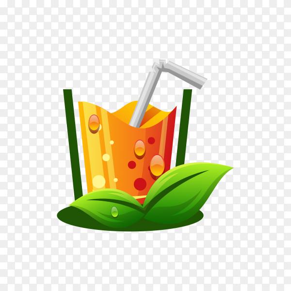Illustration of orange juice logo on transparent background PNG