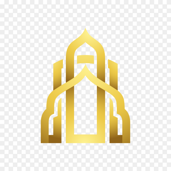 Islamic mosque logo design isolated on transparent background PNG
