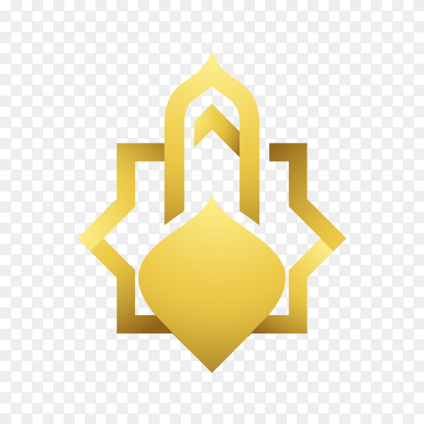 Islamic mosque logo design template on transparent background PNG