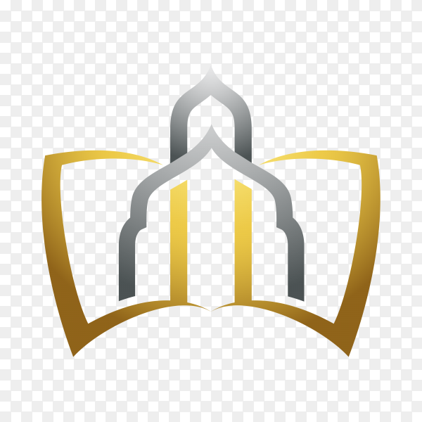 Islamic mosque logo template on transparent background PNG