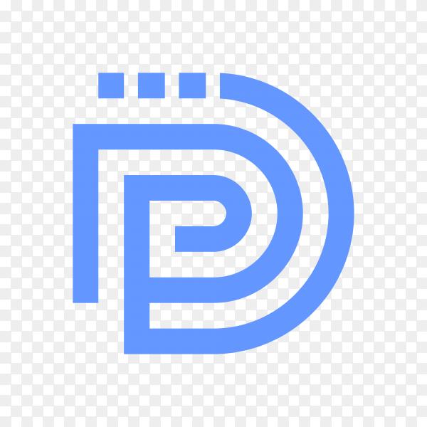 Letter D logo design in blue color on transparent background PNG