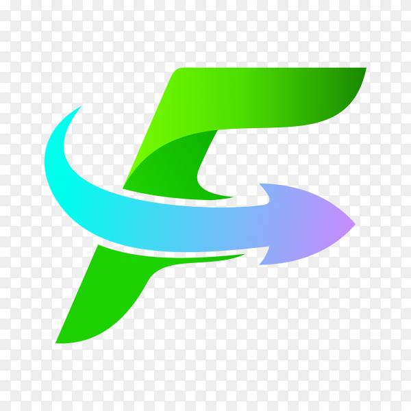 Letter F logo design isolated on transparent background PNG