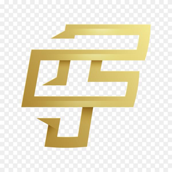 Letter F logo design template in golden color on transparent background PNG