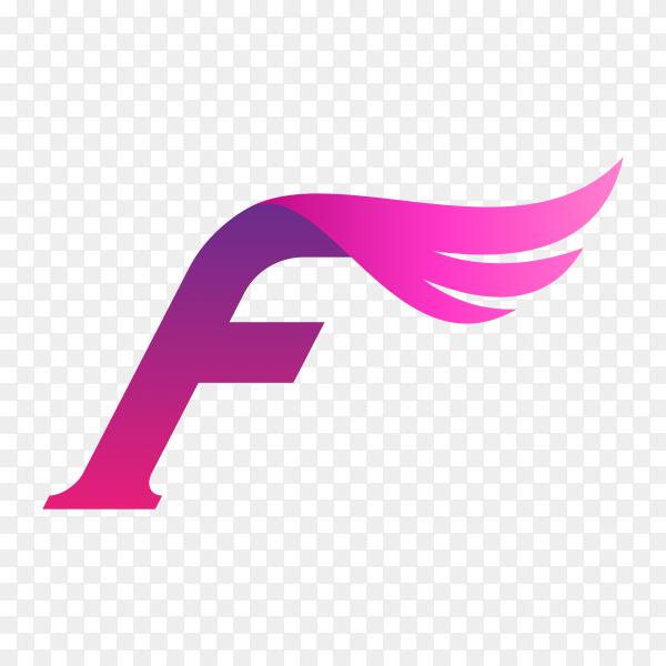 Letter F wing logo design template on transparent background PNG