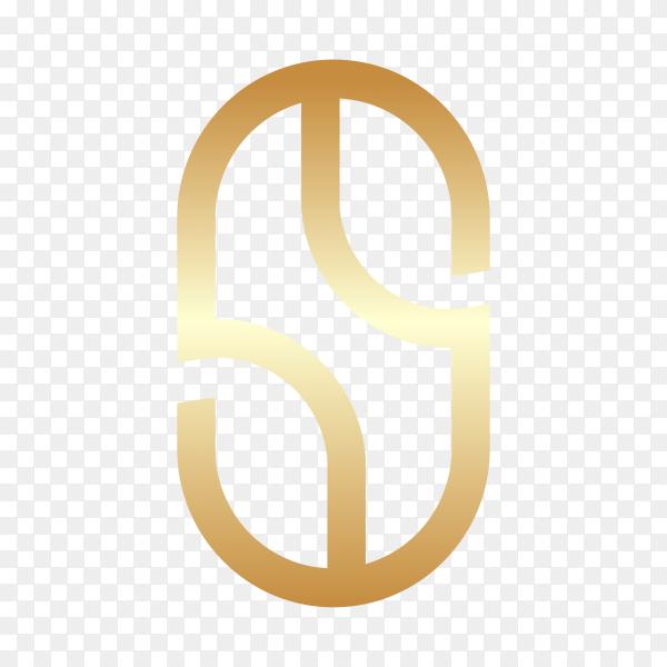Letter S logo design in golden color on transparent background PNG