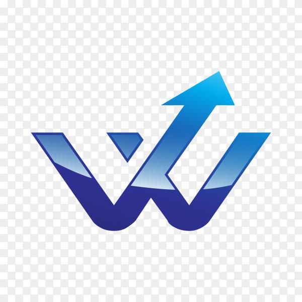 Letter W logo design in blue color on transparent background PNG