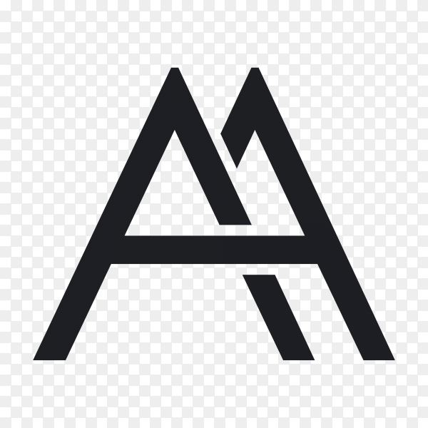 Letter a initial logo template on transparent background PNG