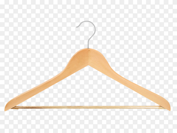Light wooden clothes hanger on transparent background PNG