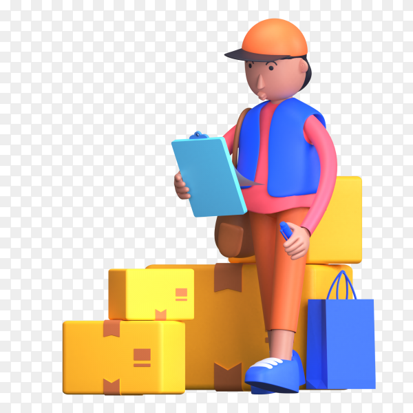Man checking on clipboard list and notice and tick the successfully delivered items or parcels on transparent background PNG