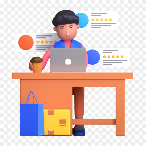 Man giving rating and review of delivery items while sitting on the desk and working on laptop on transparent background PNG