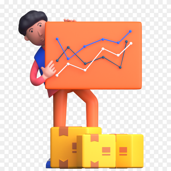 Man holding analytics report of delivery boxes or parcels on transparent background PNG