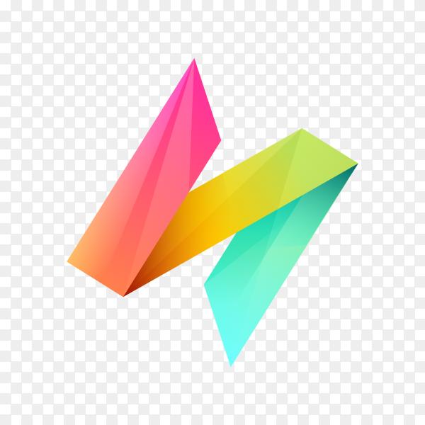 Modern Letter N logo design template on transparent background PNG