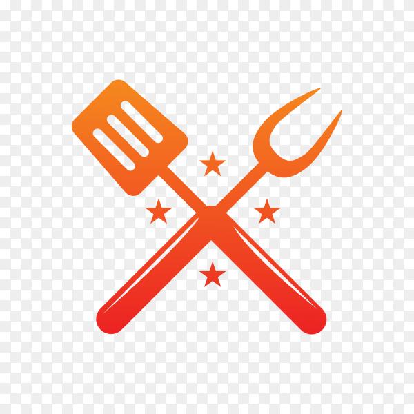 Modern barbecue label design on transparent background PNG