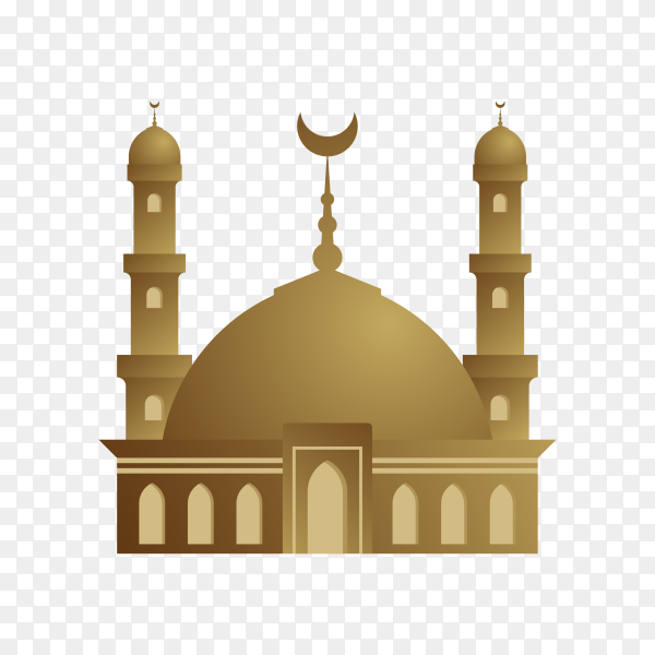 Mosque logo Islamic symbol on transparent background PNG