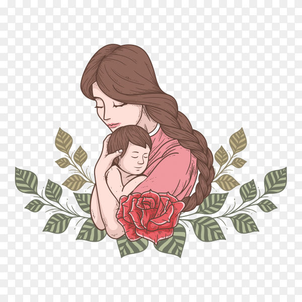 Mother's day logo icon on transparent background PNG