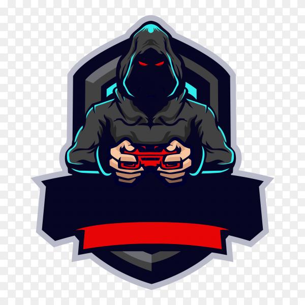 Mysterious gamer esport mascot logo design on transparent background PNG