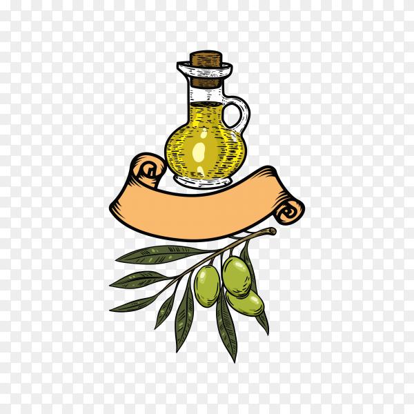 Olive oil logo on transparent PNG
