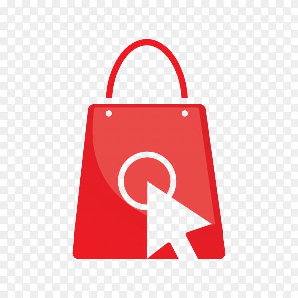 Online shop logo template on transparent background PNG