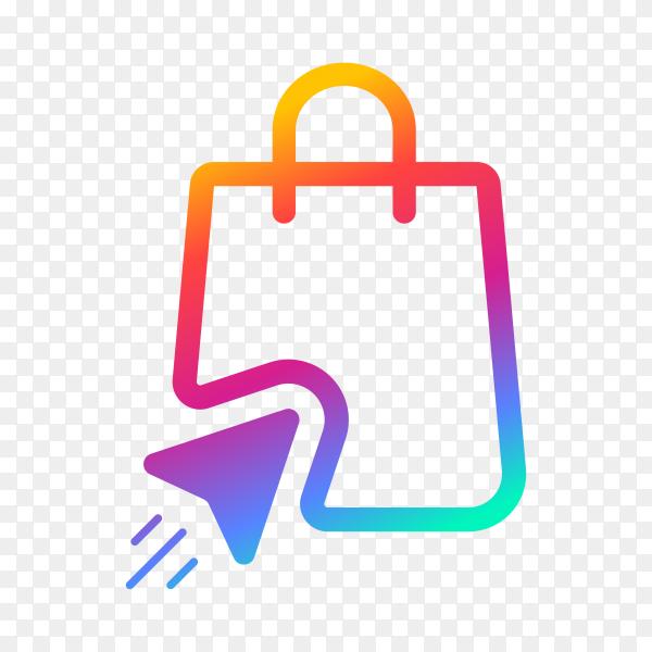 Online shopping logo design template on transparent background PNG