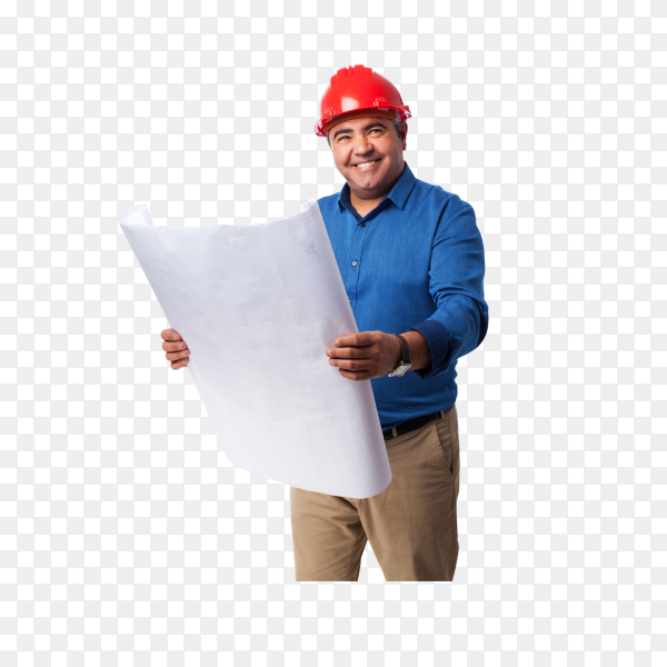Portrait architect thinking about his project on transparent background PNG