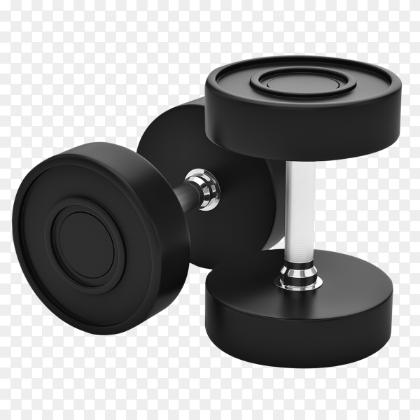 Professional urethane covered dumbbells isolated  on transparent background PNG