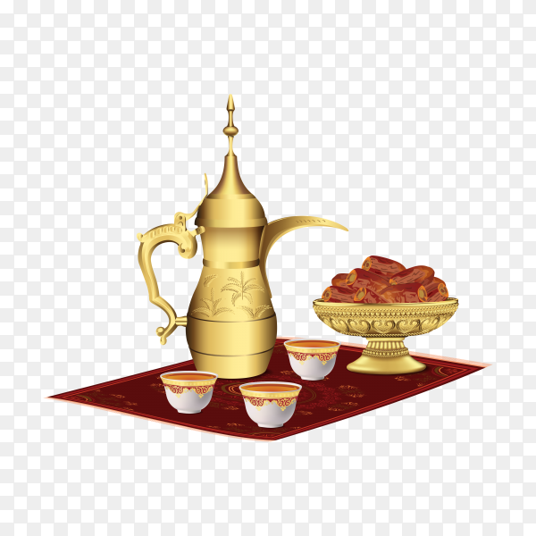 Ramadan iftar party food with classic Arabic teapot and cup, bowl of dates isolated on transparent background PNG