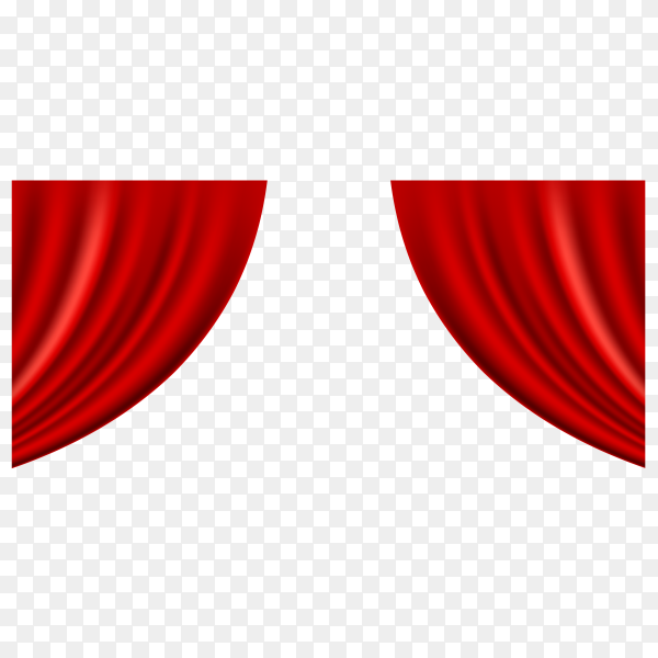 Realistic grand opening invitation with red curtains on transparent background PNG