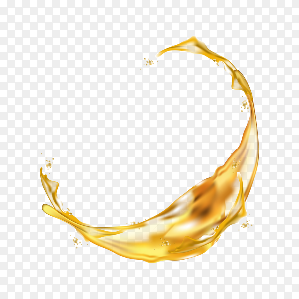 Realistic splash of juice or yellow water on transparent background PNG