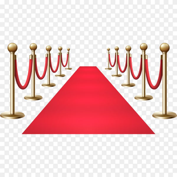 Red carpet with a golden barrier for VIP events and celebrations on transparent background PNG