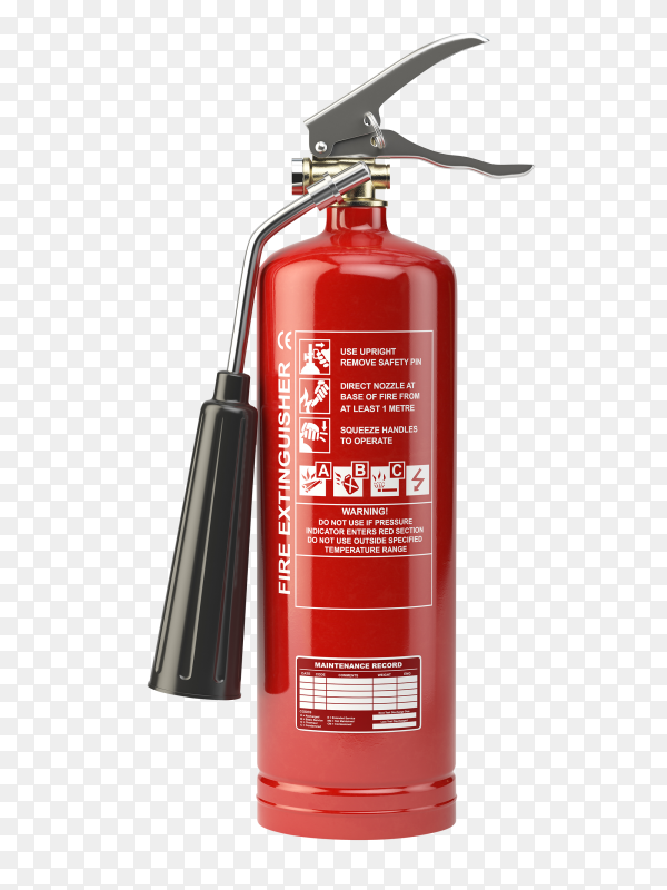 Red fire extinguisher isolated on transparent background PNG