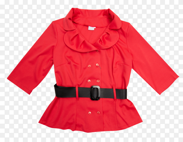 Red jacket for women on transparent background PNG