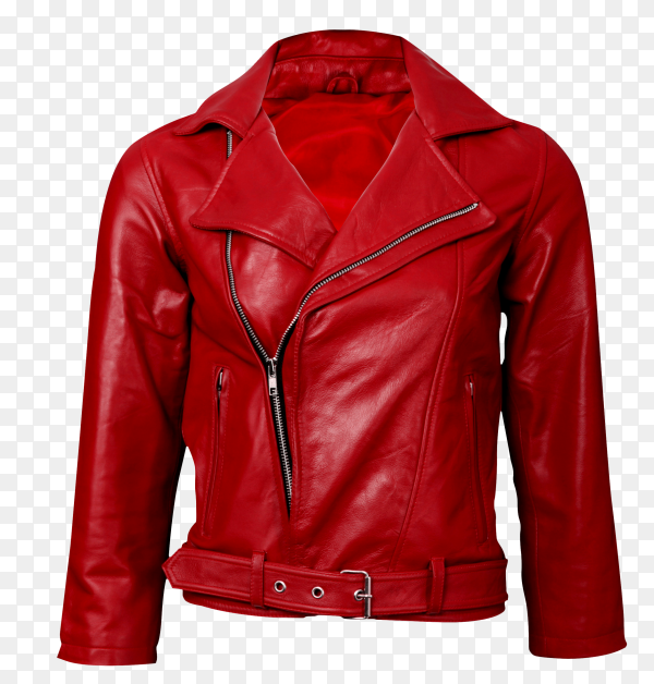Red leather jacket on transparent background PNG