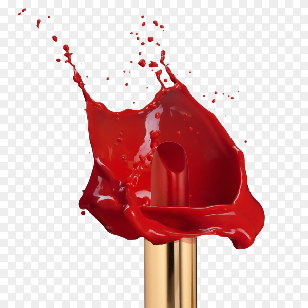 Red lipstick with splash of paint isolated on transparent background PNG