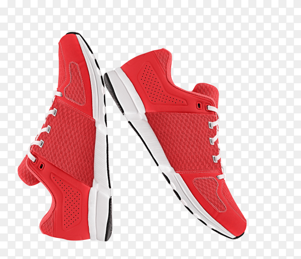 Red man shoes on transparent background PNG