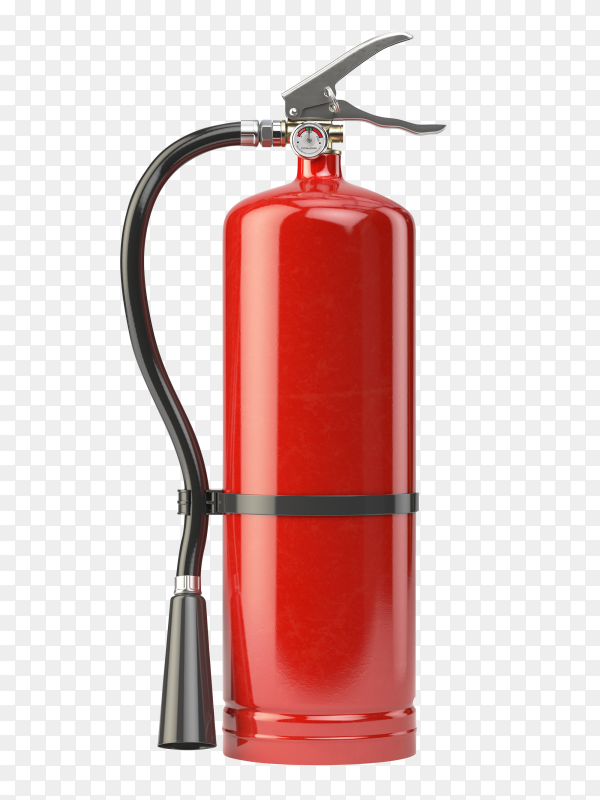 Red realistic fire extinguisher isolated on transparent background PNG