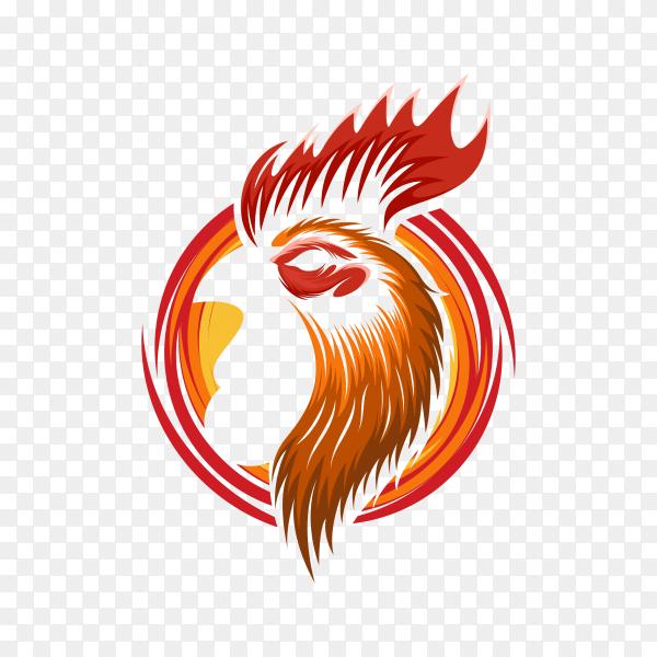 Rooster head logo design illustration on transparent background PNG