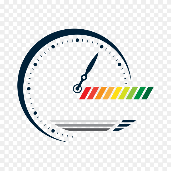 Service assistance label with clock on transparent PNG