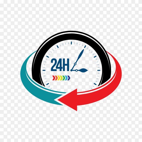Service assistance label with clock on transparent background PNG