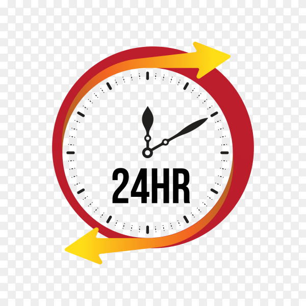 Service assistance label with clock premium vector PNG