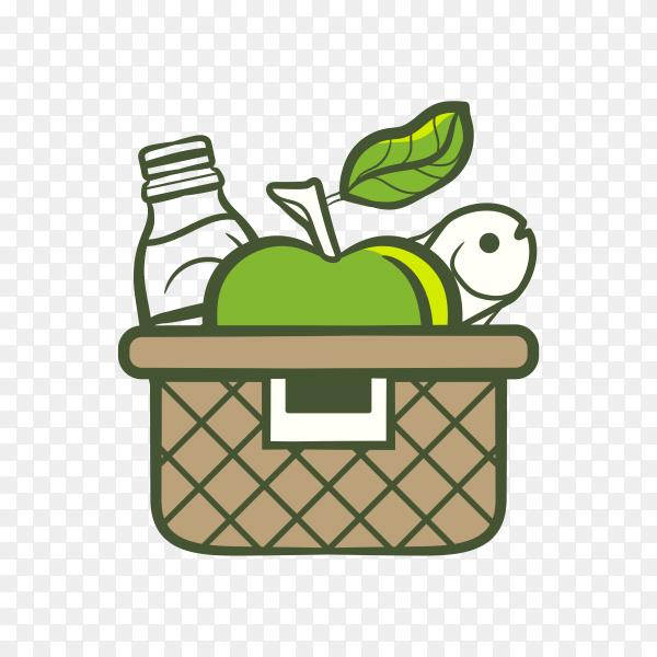 Shopping basket logo for supermarket on transparent background PNG