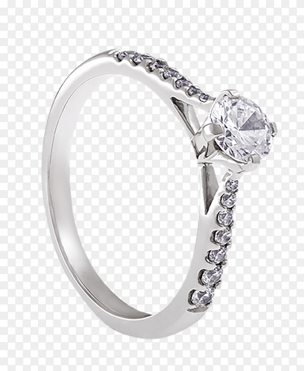 Silver ring with diamond on transparent background PNG