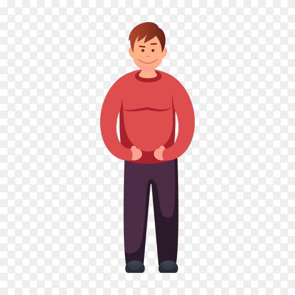 Skinny guy illustration on transparent background PNG