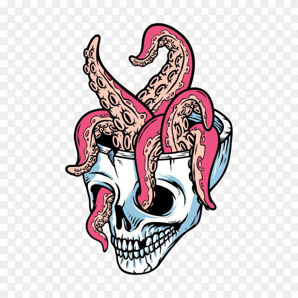 Skull and tentacles illustration on transparent background PNG