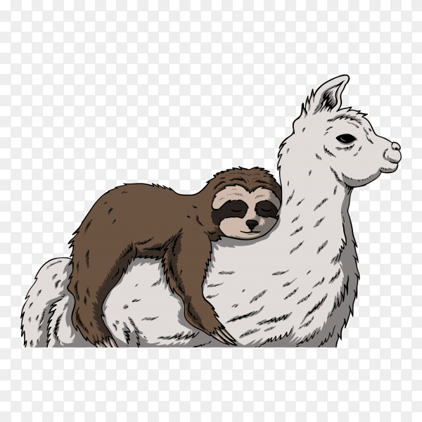 Sloth and llama retro on transparent background PNG