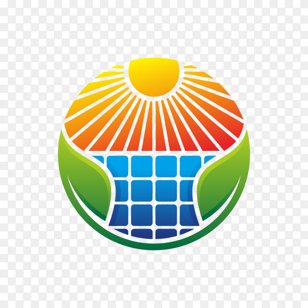 Solar energy logo design isolated on transparent background PNG