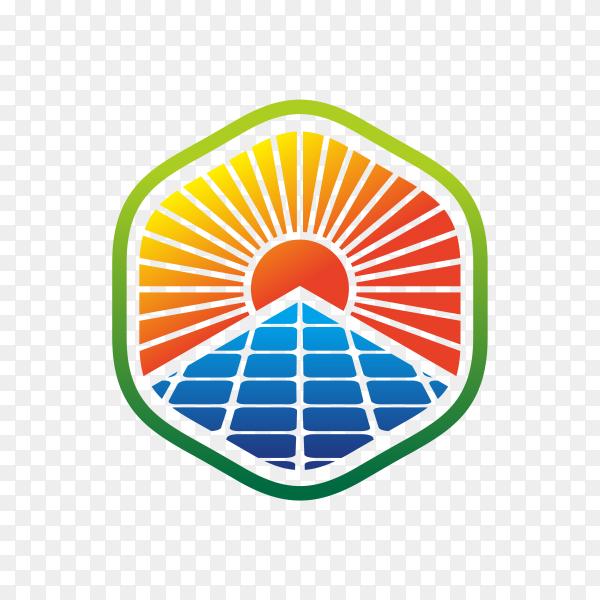Solar energy logo design template on transparent background PNG