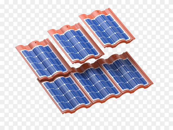 Solar panels integrated in roof tiles or shingles on transparent background PNG